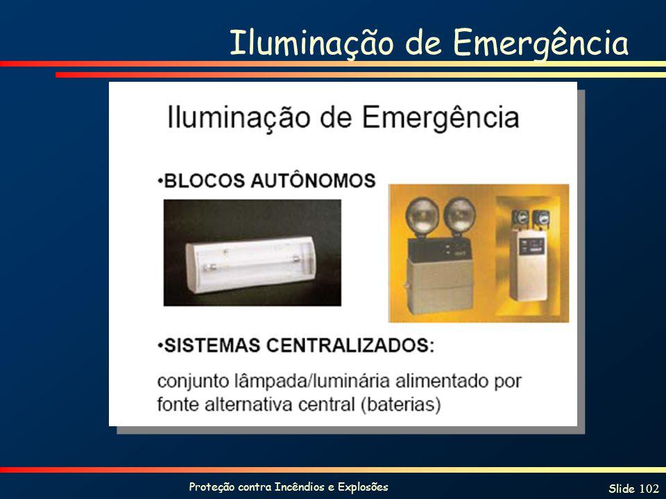 Proteção contra Incêndios e Explosões Slide 102 Iluminação de Emergência