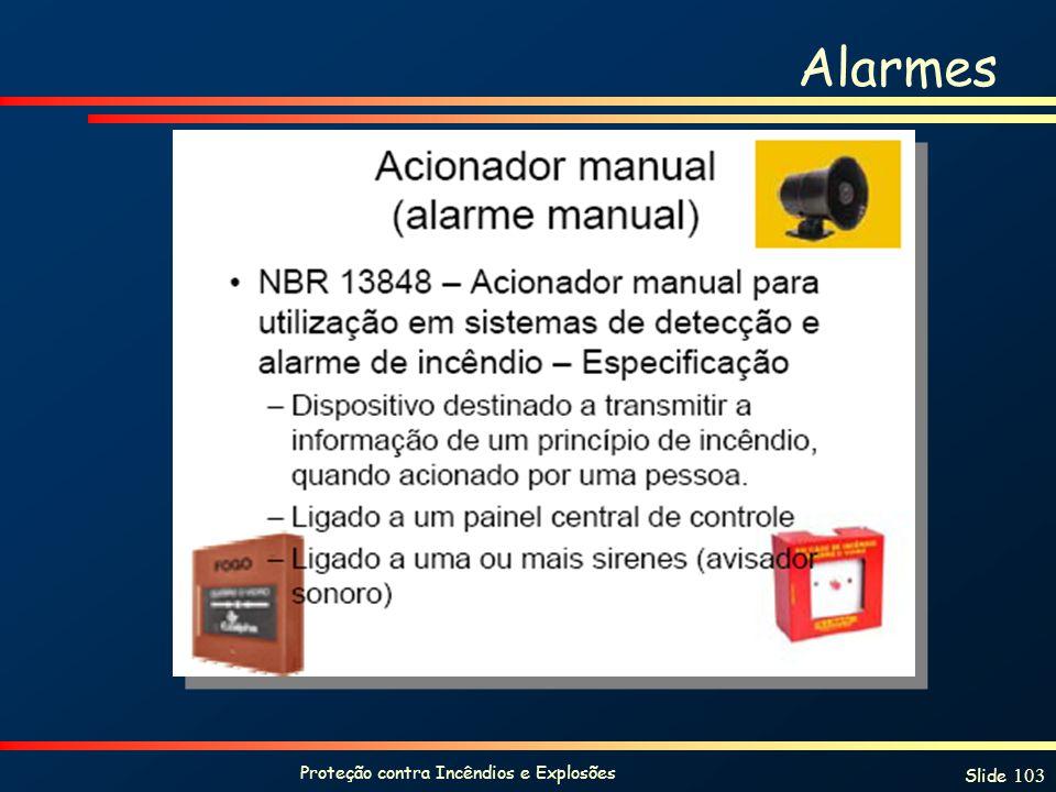Proteção contra Incêndios e Explosões Slide 103 Alarmes