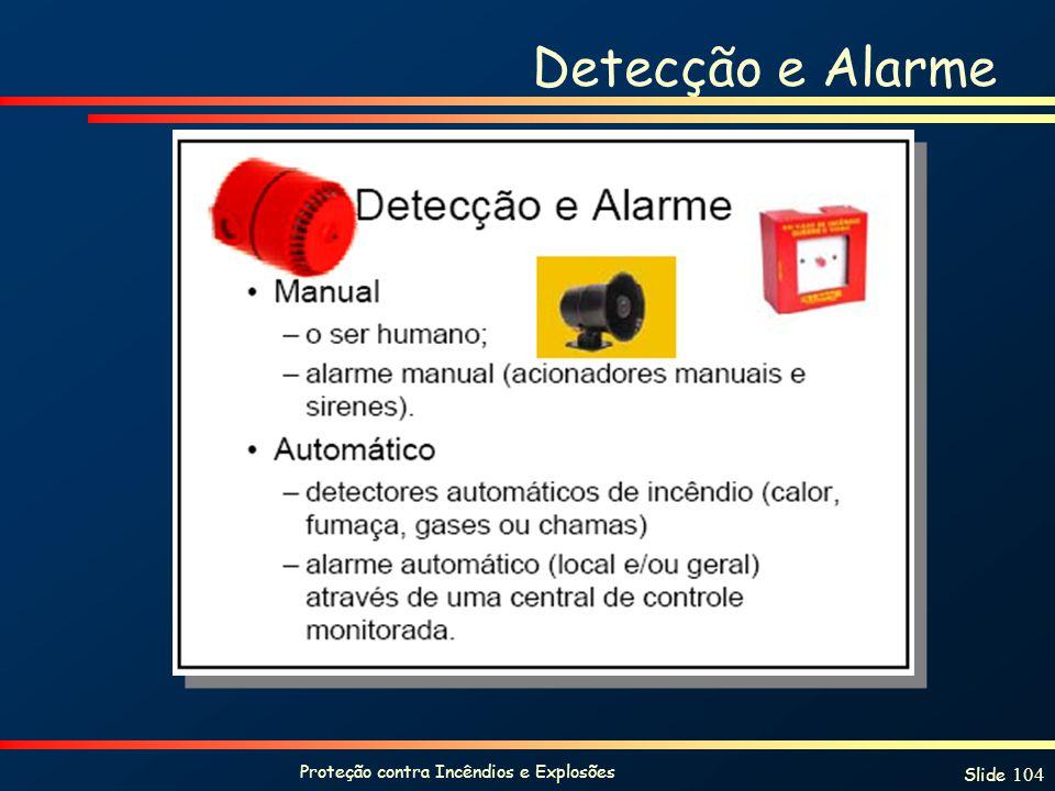 Proteção contra Incêndios e Explosões Slide 104 Detecção e Alarme
