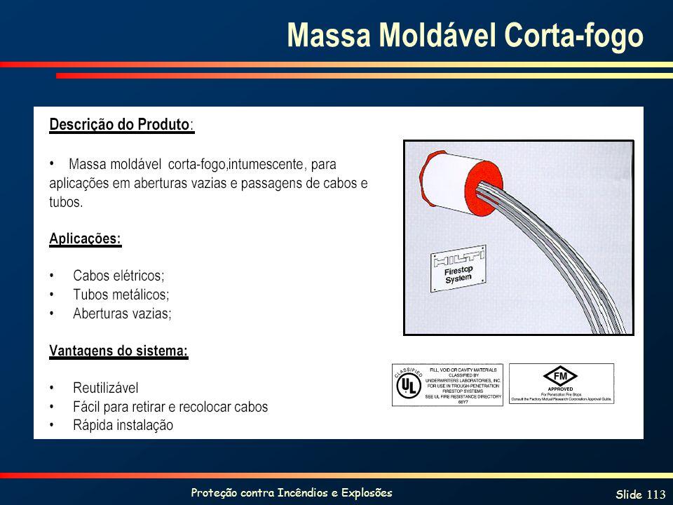 Proteção contra Incêndios e Explosões Slide 113 Massa Moldável Corta-fogo