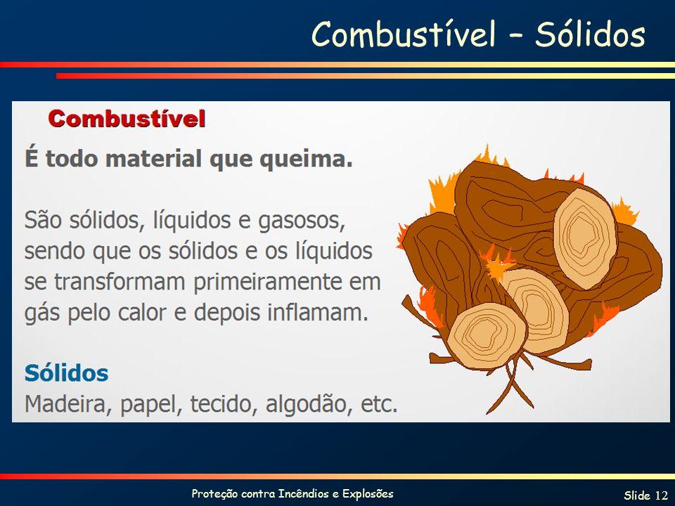 Proteção contra Incêndios e Explosões Slide 12 Combustível – Sólidos