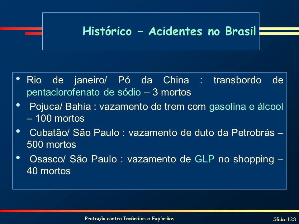 Proteção contra Incêndios e Explosões Slide 128 Rio de janeiro/ Pó da China : transbordo de pentaclorofenato de sódio – 3 mortos Pojuca/ Bahia : vazam
