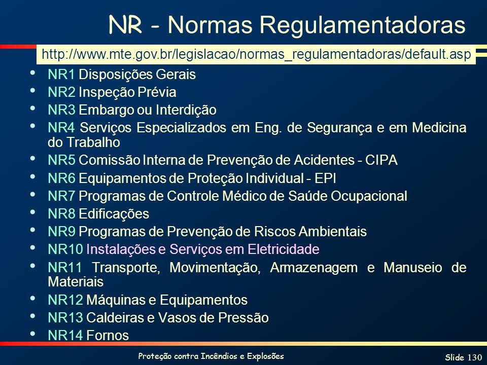 Proteção contra Incêndios e Explosões Slide 130 NR - Normas Regulamentadoras NR1 Disposições Gerais NR2 Inspeção Prévia NR3 Embargo ou Interdição NR4
