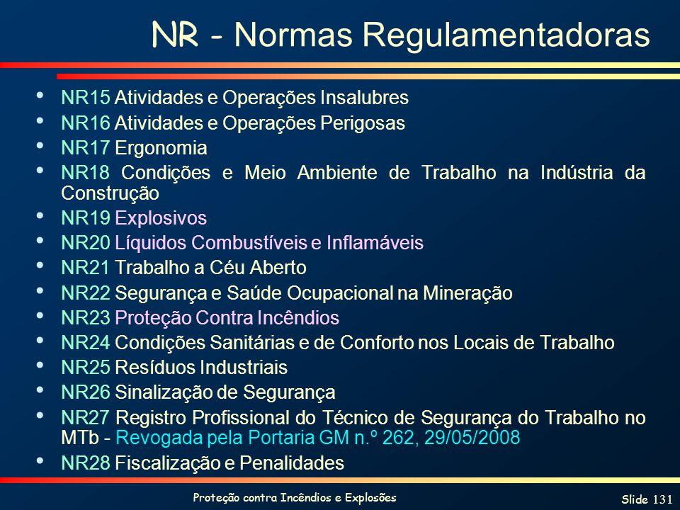 Proteção contra Incêndios e Explosões Slide 131 NR - Normas Regulamentadoras NR15 Atividades e Operações Insalubres NR16 Atividades e Operações Perigo