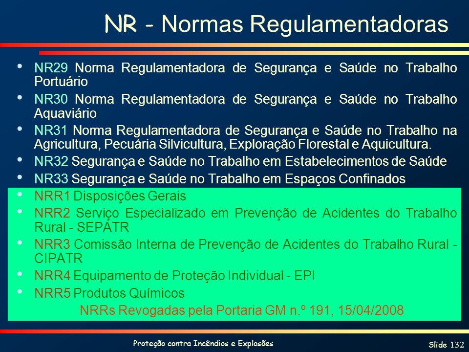 Proteção contra Incêndios e Explosões Slide 132 NR - Normas Regulamentadoras NR29 Norma Regulamentadora de Segurança e Saúde no Trabalho Portuário NR3