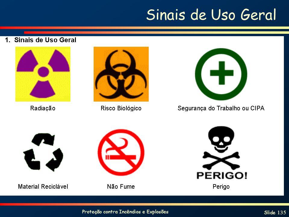 Proteção contra Incêndios e Explosões Slide 135 Sinais de Uso Geral