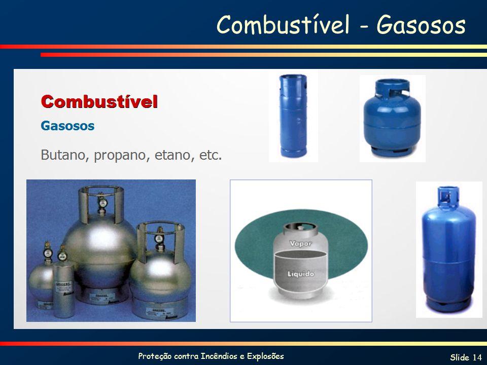 Proteção contra Incêndios e Explosões Slide 14 Combustível - Gasosos