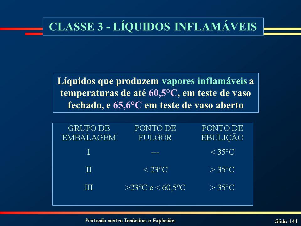 Proteção contra Incêndios e Explosões Slide 141 CLASSE 3 - LÍQUIDOS INFLAMÁVEIS Líquidos que produzem vapores inflamáveis a temperaturas de até 60,5°C