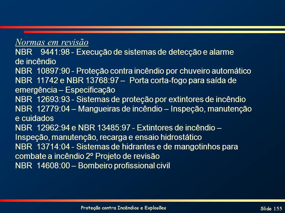 Proteção contra Incêndios e Explosões Slide 155 Normas em revisão NBR 9441:98 - Execução de sistemas de detecção e alarme de incêndio NBR 10897:90 - P