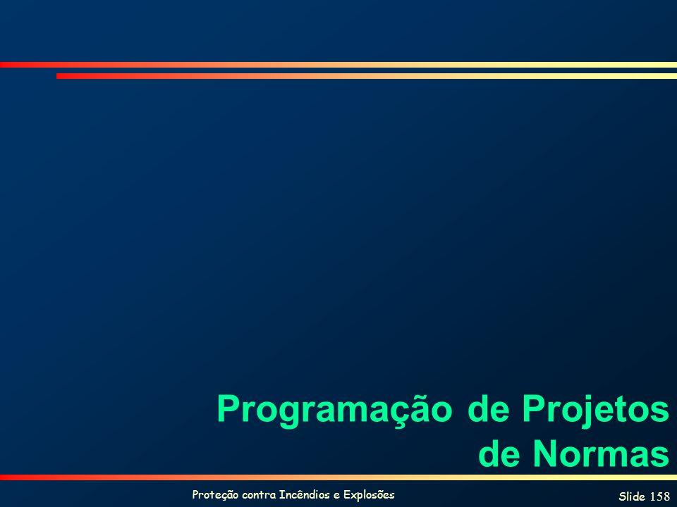 Proteção contra Incêndios e Explosões Slide 158 Programação de Projetos de Normas