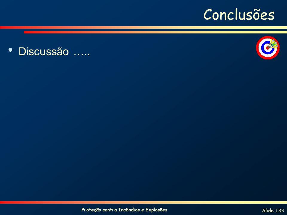 Proteção contra Incêndios e Explosões Slide 183 Conclusões Discussão …..