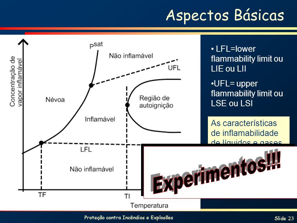 Proteção contra Incêndios e Explosões Slide 23 As características de inflamabilidade de líquidos e gases encontram-se tabeladas em manuais. Aspectos B