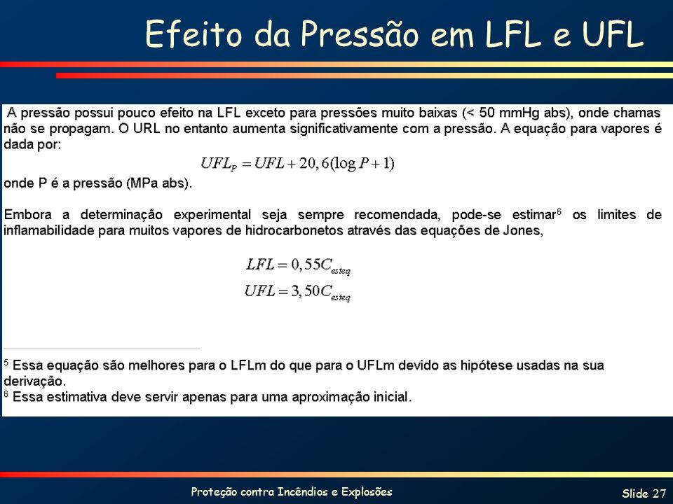 Proteção contra Incêndios e Explosões Slide 27 Efeito da Pressão em LFL e UFL