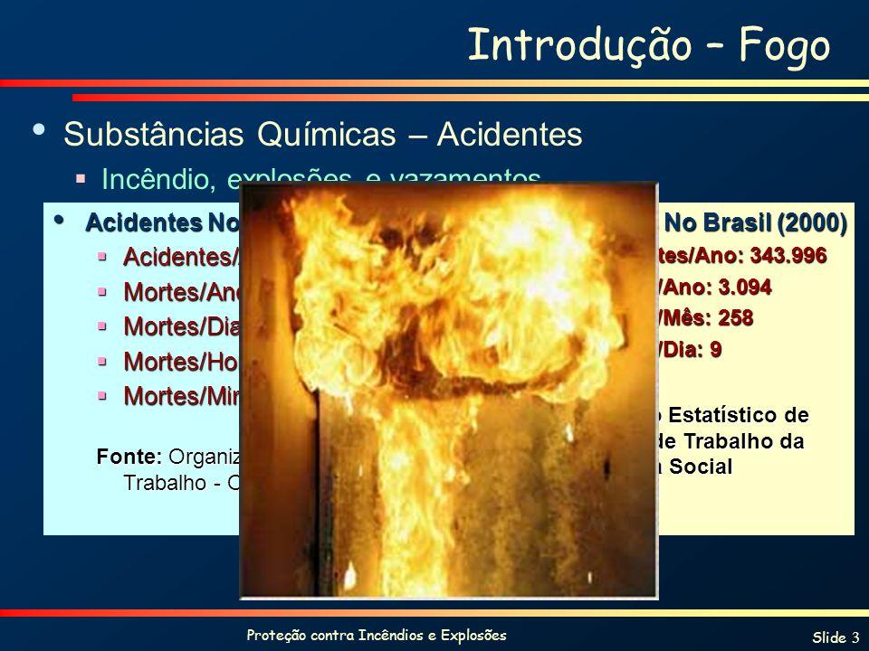 Proteção contra Incêndios e Explosões Slide 3 Introdução – Fogo Substâncias Químicas – Acidentes Incêndio, explosões e vazamentos Acidentes No Mundo (