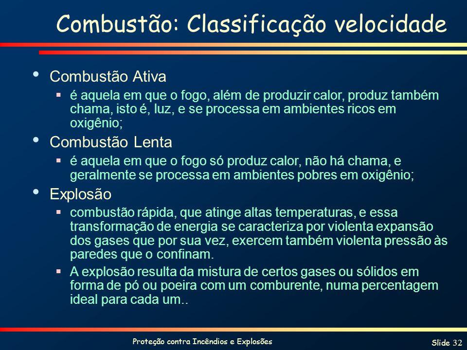 Proteção contra Incêndios e Explosões Slide 32 Combustão: Classificação velocidade Combustão Ativa é aquela em que o fogo, além de produzir calor, pro