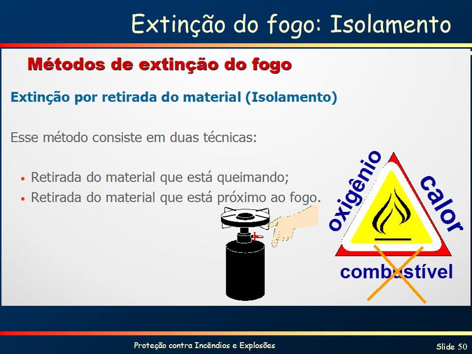 Proteção contra Incêndios e Explosões Slide 50 Extinção do fogo: Isolamento