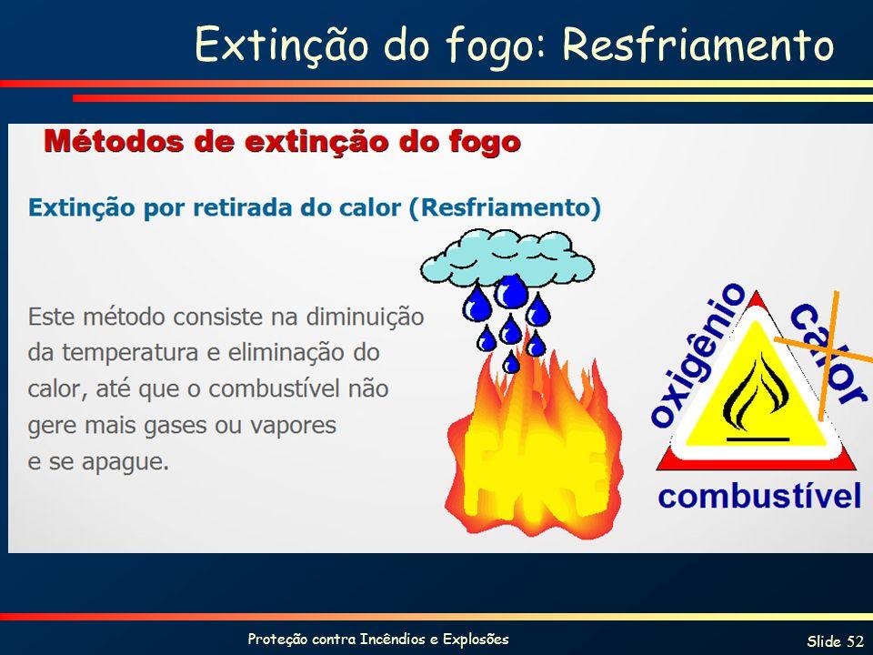 Proteção contra Incêndios e Explosões Slide 52 Extinção do fogo: Resfriamento