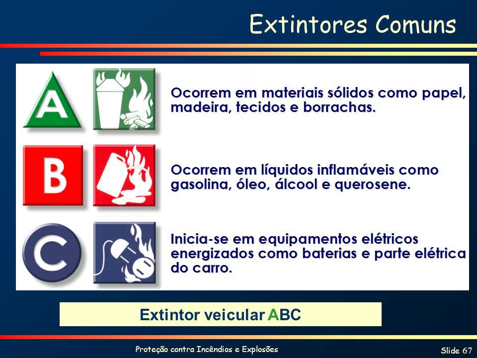 Proteção contra Incêndios e Explosões Slide 67 Extintores Comuns Extintor veicular ABC