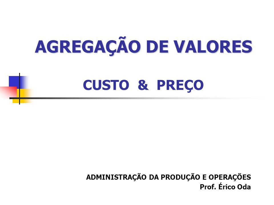 AGREGAÇÃO DE VALORES AGREGAÇÃO DE VALORES CUSTO & PREÇO ADMINISTRAÇÃO DA PRODUÇÃO E OPERAÇÕES Prof. Érico Oda