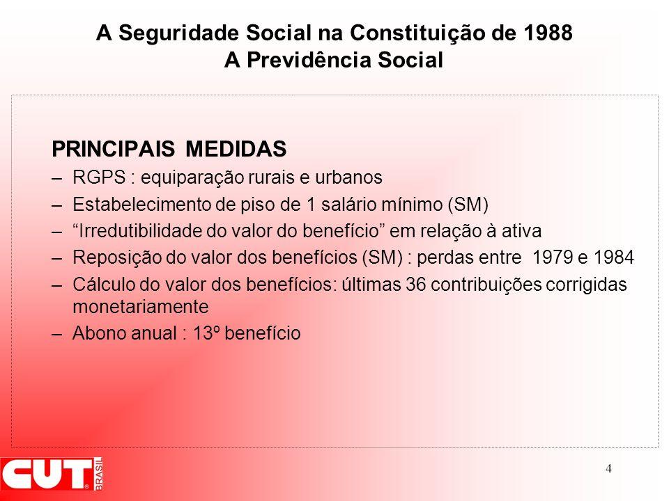 4 A Seguridade Social na Constituição de 1988 A Previdência Social PRINCIPAIS MEDIDAS –RGPS : equiparação rurais e urbanos –Estabelecimento de piso de