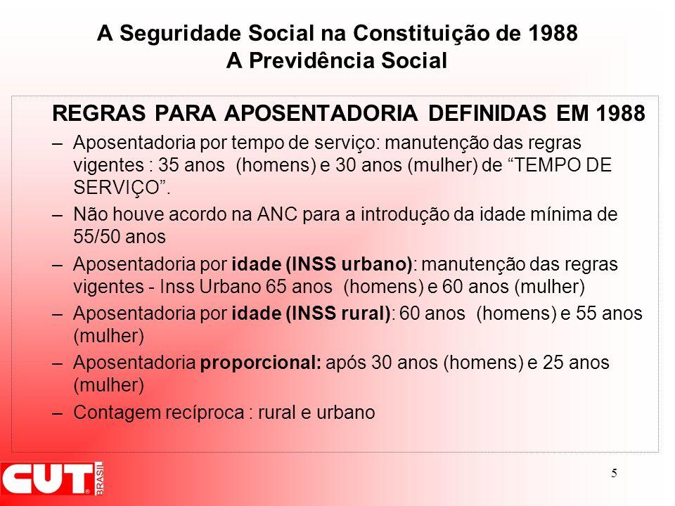 5 A Seguridade Social na Constituição de 1988 A Previdência Social REGRAS PARA APOSENTADORIA DEFINIDAS EM 1988 –Aposentadoria por tempo de serviço: ma