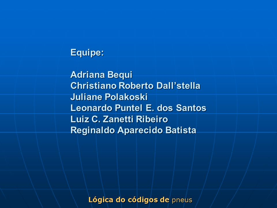 Equipe: Adriana Bequi Christiano Roberto Dallstella Juliane Polakoski Leonardo Puntel E. dos Santos Luiz C. Zanetti Ribeiro Reginaldo Aparecido Batist