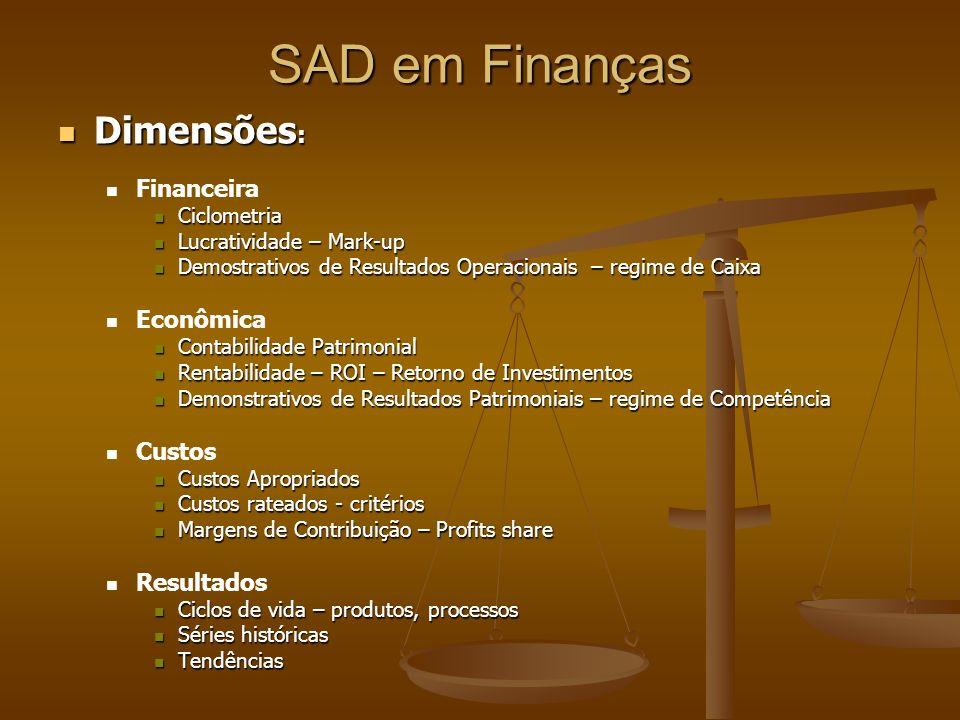 SAD em Finanças Dimensões : Dimensões : Financeira Ciclometria Ciclometria Lucratividade – Mark-up Lucratividade – Mark-up Demostrativos de Resultados