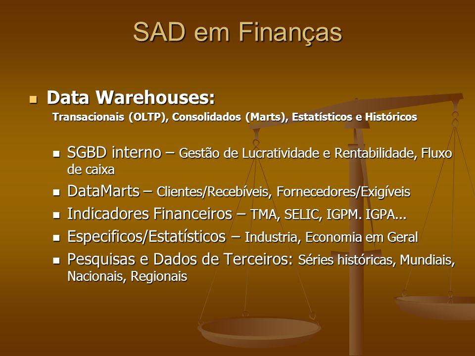 Data Warehouses: Data Warehouses: Transacionais (OLTP), Consolidados (Marts), Estatísticos e Históricos SGBD interno – Gestão de Lucratividade e Renta