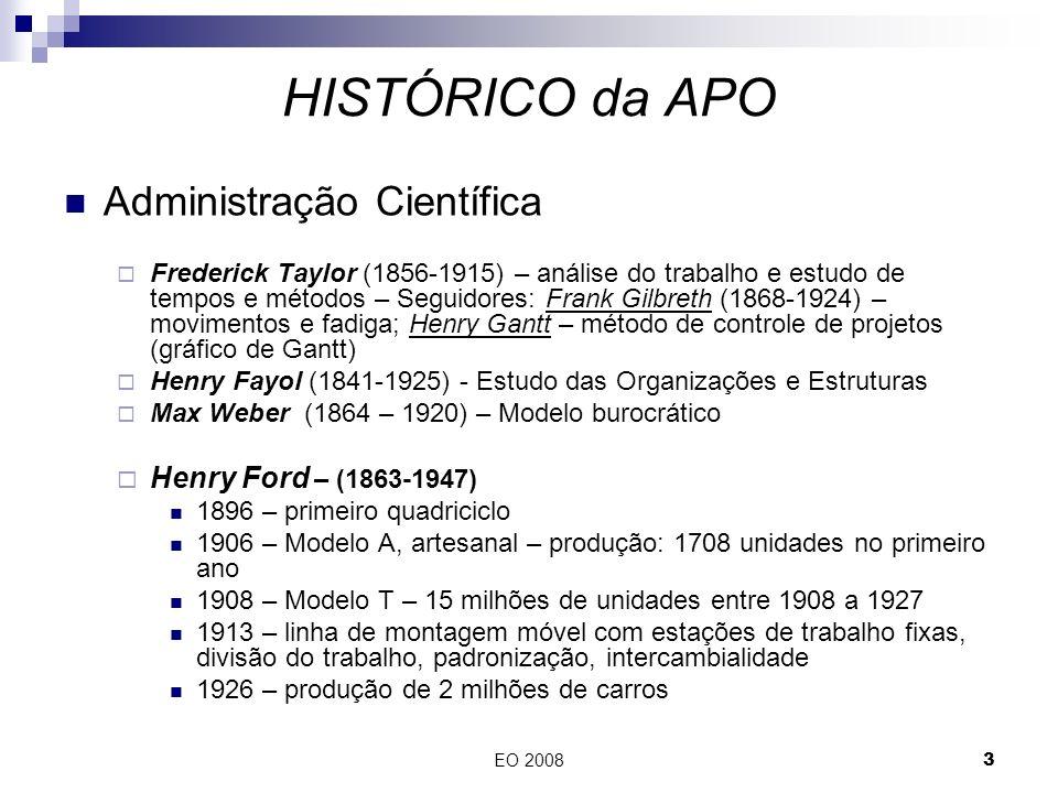EO 20083 Administração Científica Frederick Taylor (1856-1915) – análise do trabalho e estudo de tempos e métodos – Seguidores: Frank Gilbreth (1868-1