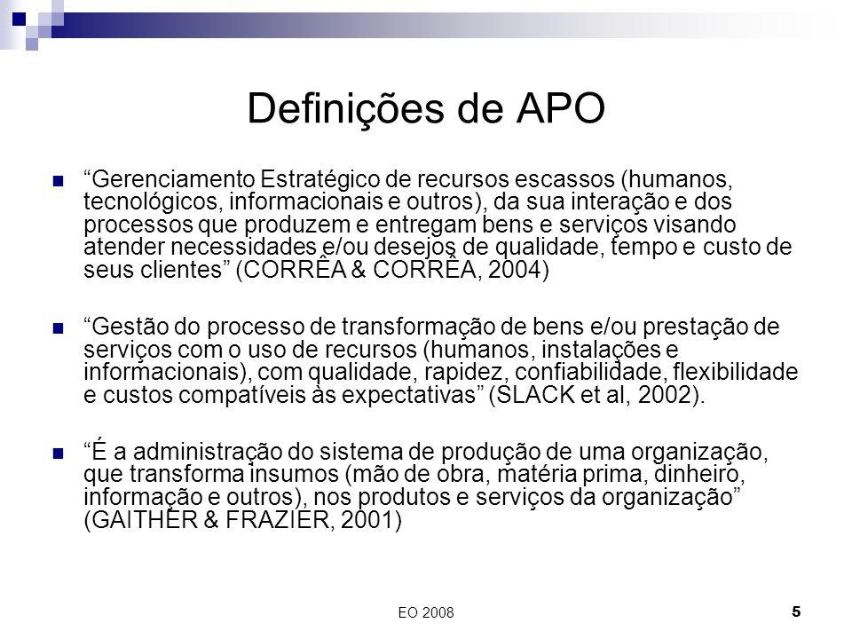 EO 20085 Definições de APO Gerenciamento Estratégico de recursos escassos (humanos, tecnológicos, informacionais e outros), da sua interação e dos pro