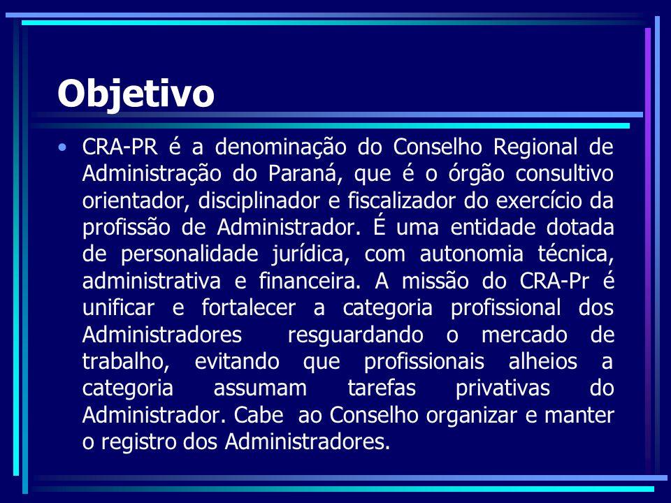 Estrutura Presidente Vice-presidente Diretoria de Administração e Finanças Diretoria de Desenvolvimento Institucional Diretoria de Fiscalização Diretoria de Formação Profissional Diretoria de Eventos Conselheiros(a) Coordenadorias Comissões Supervisão Setorial do CRA-PR Supervisão do Setor de Fiscalização Sindicato e Associações de Classe de Administradores do Paraná