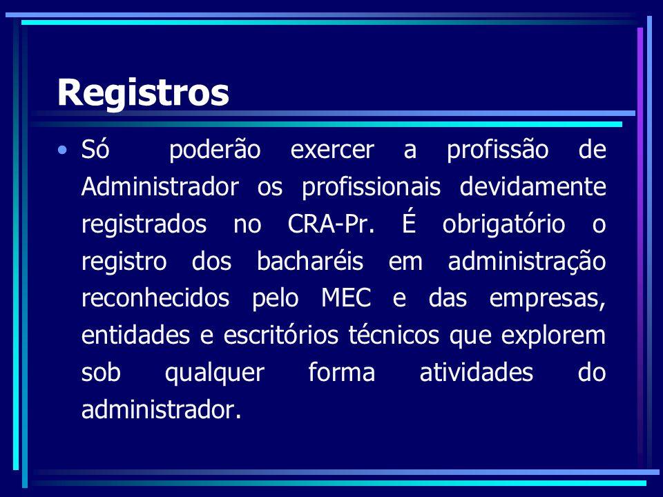 Tipos de Registros Registro Profissional Principal: Com Carteira Provisória: Para assegurar a habilitação legal do Administrador de atuar na área enquanto não tem seu diploma registrado.