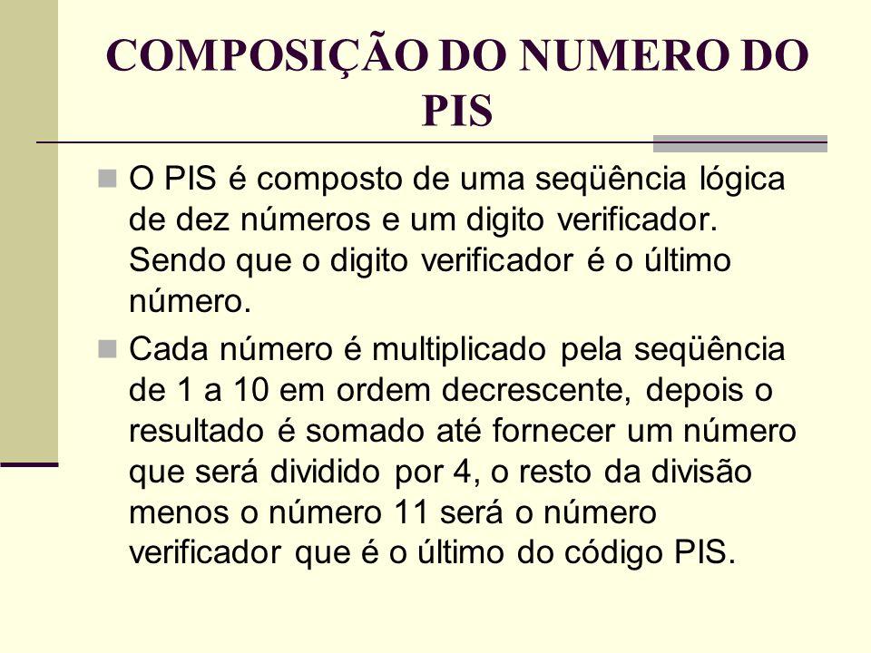 COMPOSIÇÃO DO NUMERO DO PIS O PIS é composto de uma seqüência lógica de dez números e um digito verificador. Sendo que o digito verificador é o último