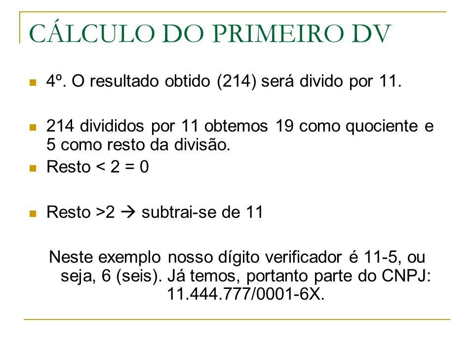 CÁLCULO DO PRIMEIRO DV 4º. O resultado obtido (214) será divido por 11. 214 divididos por 11 obtemos 19 como quociente e 5 como resto da divisão. Rest