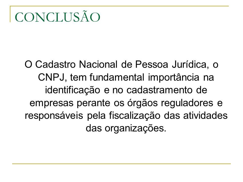 CONCLUSÃO O Cadastro Nacional de Pessoa Jurídica, o CNPJ, tem fundamental importância na identificação e no cadastramento de empresas perante os órgão