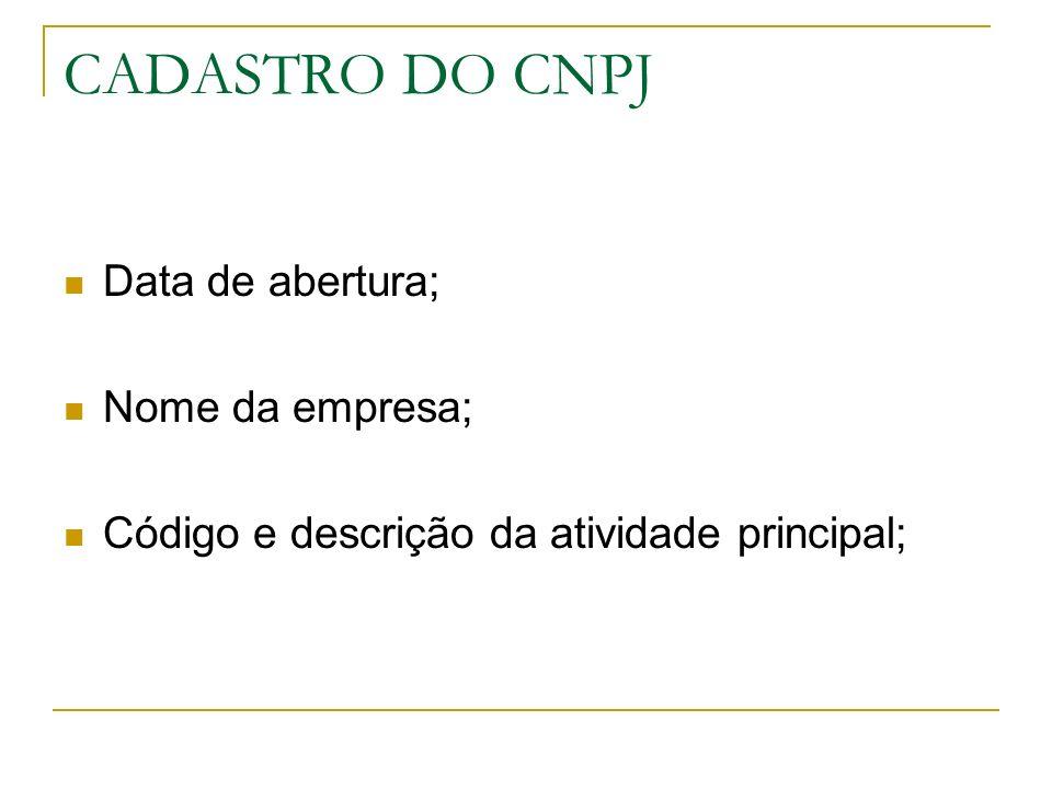 CADASTRO DO CNPJ Código e descrição da atividade secundária; Código e descrição da natureza jurídica; Endereço.