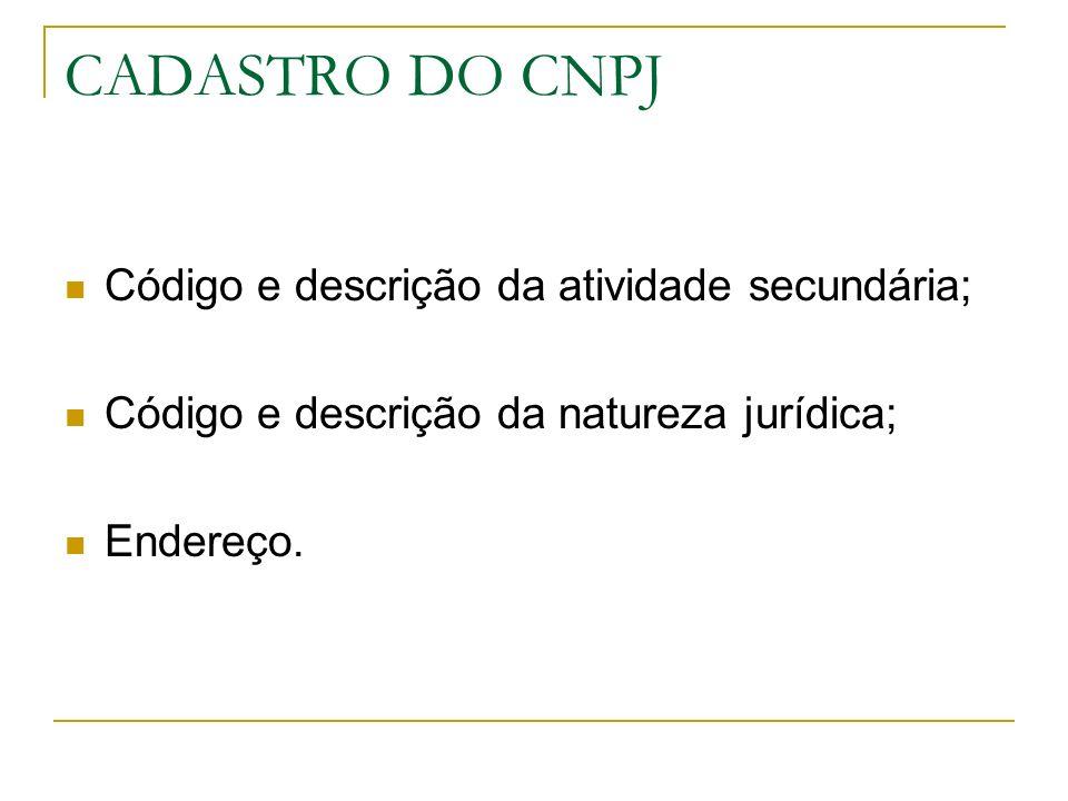 CNAE FISCAL Padronização nacional dos códigos; Classificação Nacional de atividades econômicas, aplicada a todos os agentes de produção de bens ou serviços; Possui 7 dígitos.