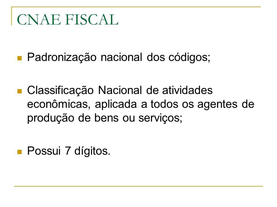 CNAE FISCAL Padronização nacional dos códigos; Classificação Nacional de atividades econômicas, aplicada a todos os agentes de produção de bens ou ser