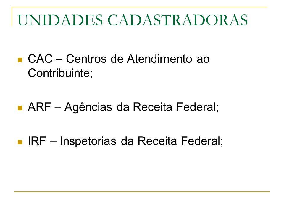 UNIDADES CADASTRADORAS CAC – Centros de Atendimento ao Contribuinte; ARF – Agências da Receita Federal; IRF – Inspetorias da Receita Federal;