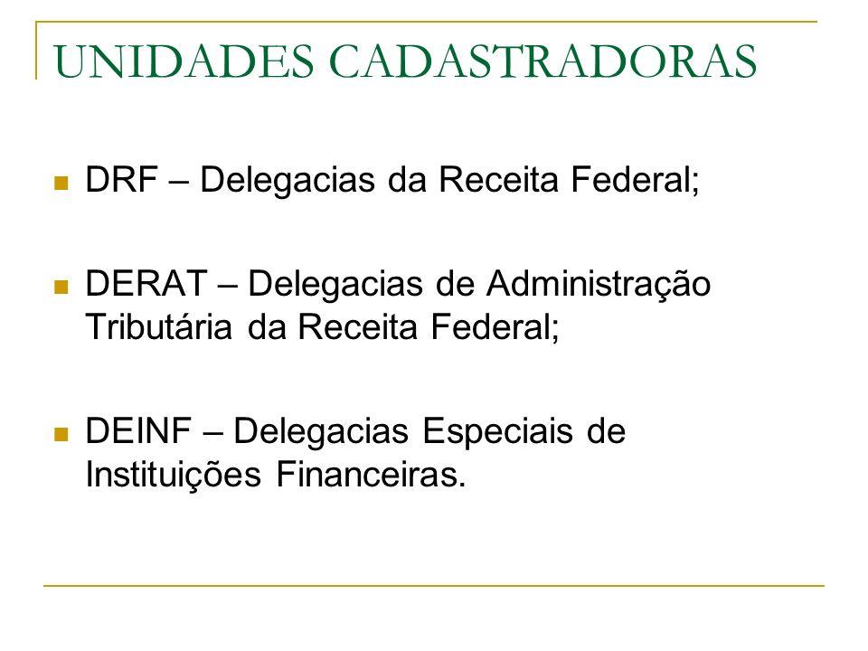 UNIDADES CADASTRADORAS DRF – Delegacias da Receita Federal; DERAT – Delegacias de Administração Tributária da Receita Federal; DEINF – Delegacias Espe