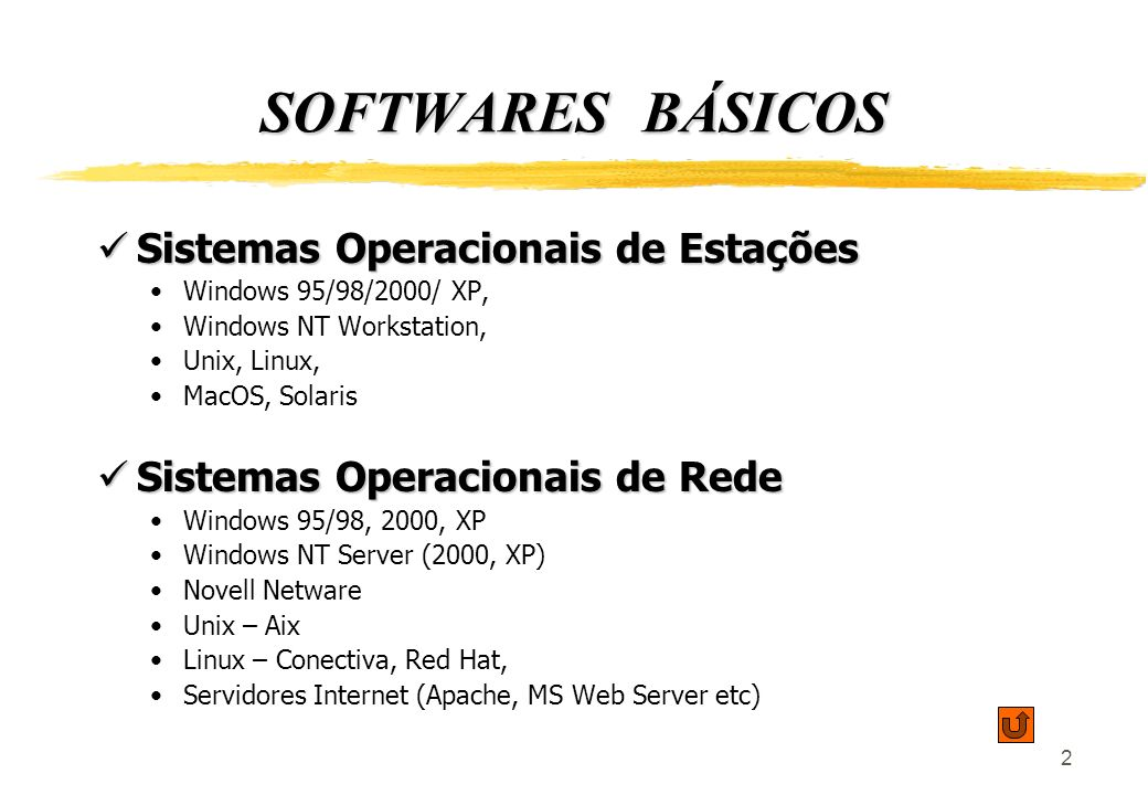 2 SOFTWARES BÁSICOS Sistemas Operacionais de Estações Sistemas Operacionais de Estações Windows 95/98/2000/ XP, Windows NT Workstation, Unix, Linux, MacOS, Solaris Sistemas Operacionais de Rede Sistemas Operacionais de Rede Windows 95/98, 2000, XP Windows NT Server (2000, XP) Novell Netware Unix – Aix Linux – Conectiva, Red Hat, Servidores Internet (Apache, MS Web Server etc)