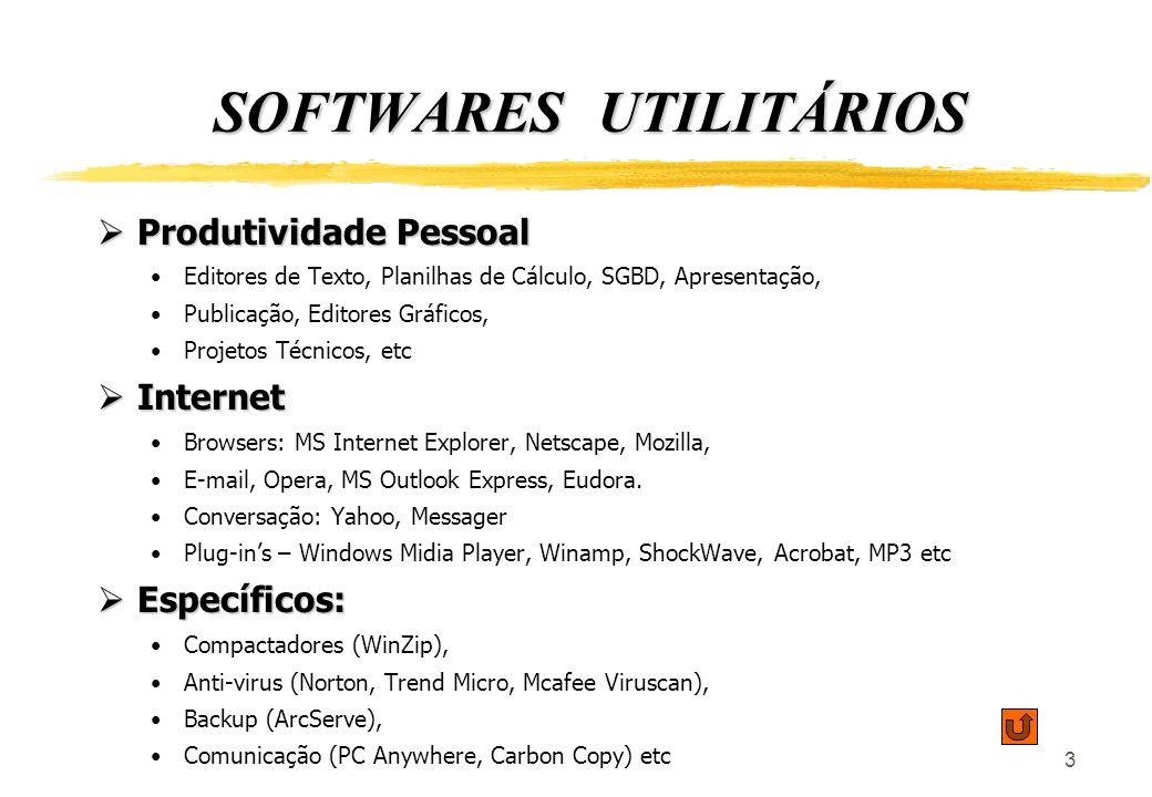 3 SOFTWARES UTILITÁRIOS Produtividade Pessoal Produtividade Pessoal Editores de Texto, Planilhas de Cálculo, SGBD, Apresentação, Publicação, Editores Gráficos, Projetos Técnicos, etc Internet Internet Browsers: MS Internet Explorer, Netscape, Mozilla, E-mail, Opera, MS Outlook Express, Eudora.