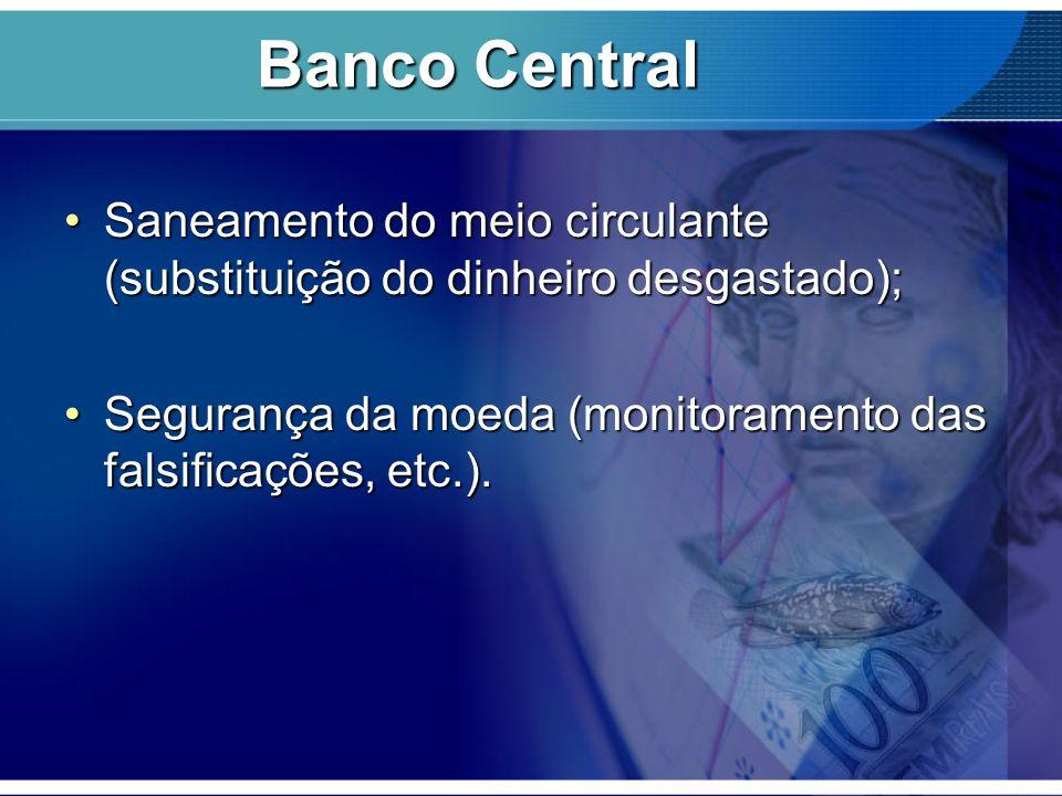 Saneamento do meio circulante (substituição do dinheiro desgastado);Saneamento do meio circulante (substituição do dinheiro desgastado); Segurança da