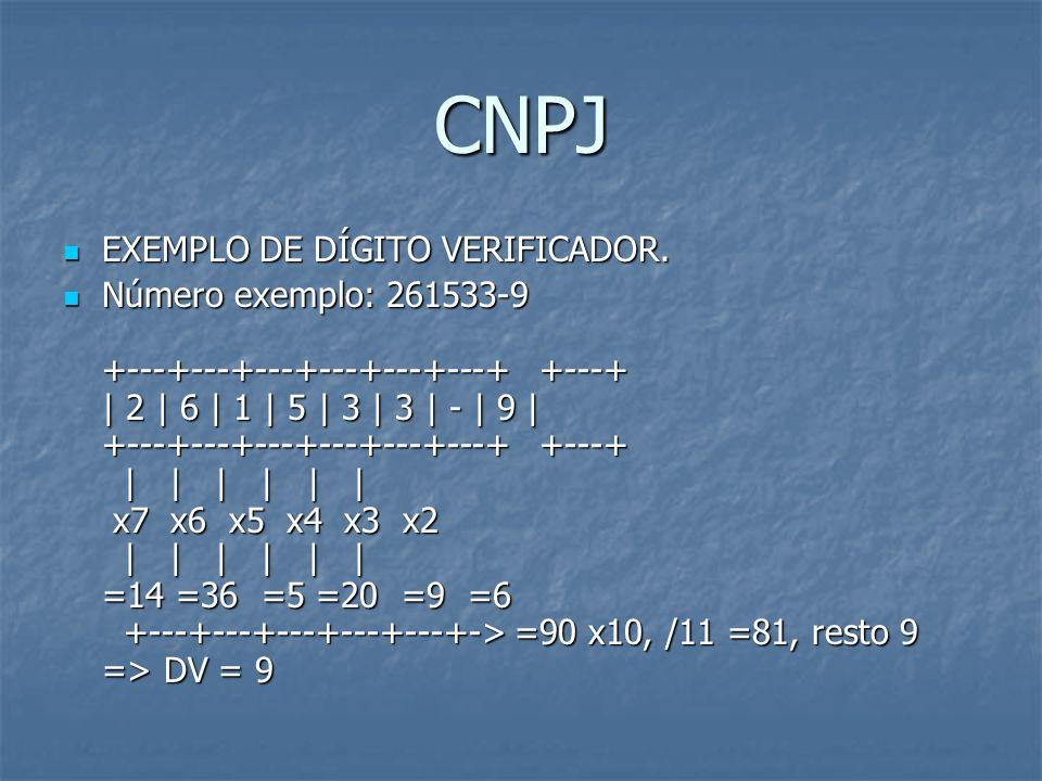 CNPJ EXEMPLO DE DÍGITO VERIFICADOR. EXEMPLO DE DÍGITO VERIFICADOR. Número exemplo: 261533-9 +---+---+---+---+---+---+ +---+ | 2 | 6 | 1 | 5 | 3 | 3 |