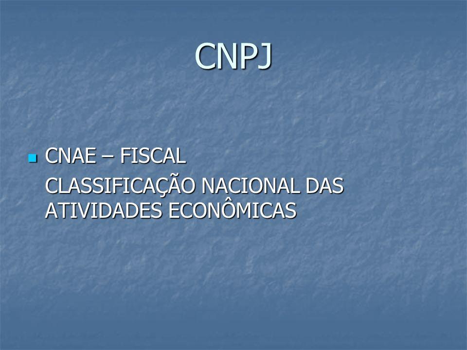 CNPJ CNAE – FISCAL CNAE – FISCAL CLASSIFICAÇÃO NACIONAL DAS ATIVIDADES ECONÔMICAS
