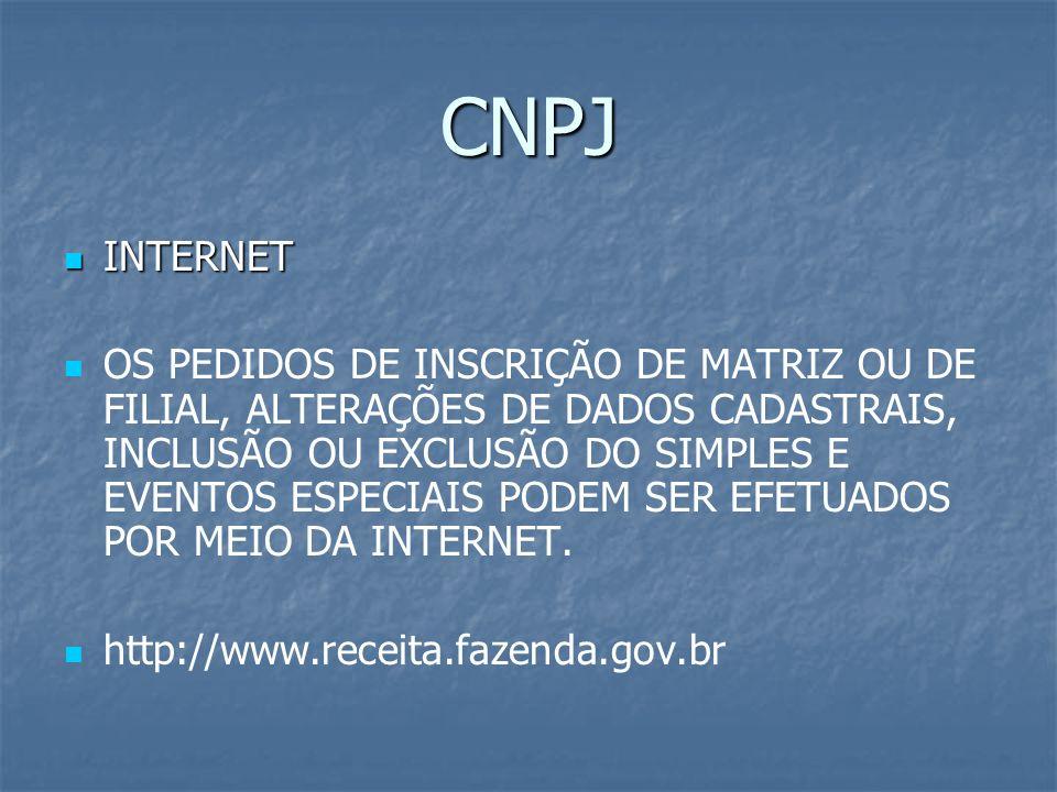 CNPJ INTERNET INTERNET OS PEDIDOS DE INSCRIÇÃO DE MATRIZ OU DE FILIAL, ALTERAÇÕES DE DADOS CADASTRAIS, INCLUSÃO OU EXCLUSÃO DO SIMPLES E EVENTOS ESPEC