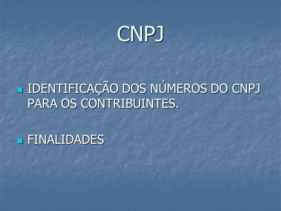 CNPJ IDENTIFICAÇÃO DOS NÚMEROS DO CNPJ PARA OS CONTRIBUINTES. IDENTIFICAÇÃO DOS NÚMEROS DO CNPJ PARA OS CONTRIBUINTES. FINALIDADES FINALIDADES