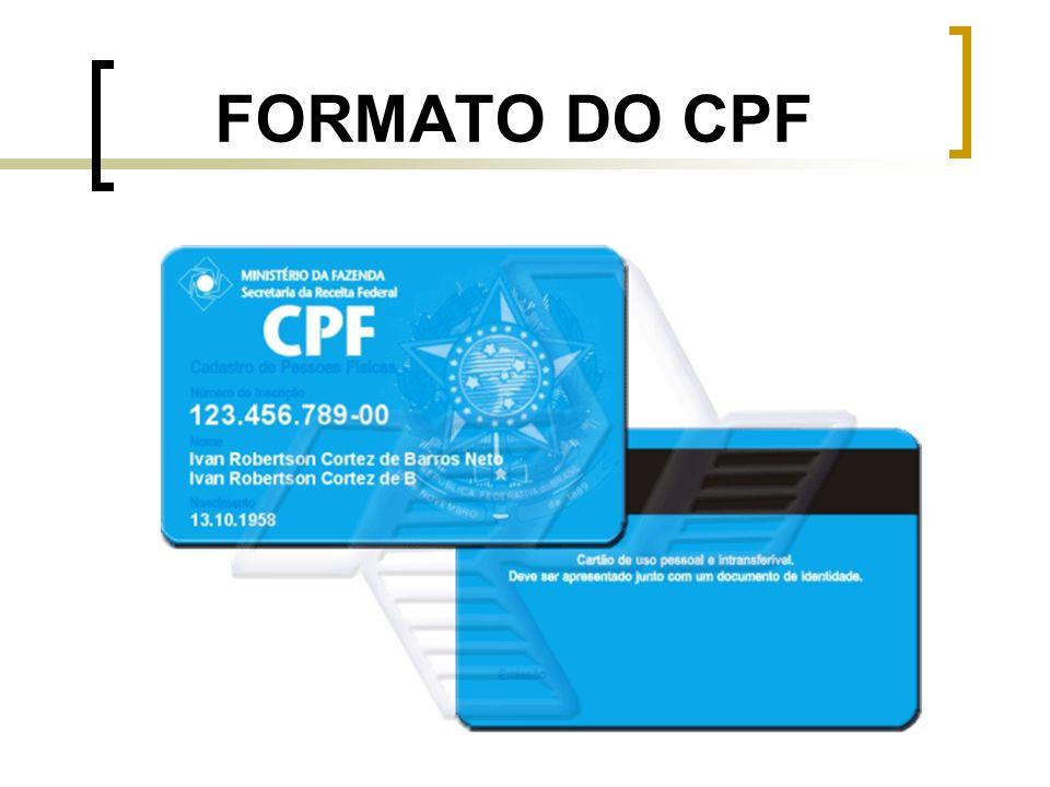 FORMATO DO CPF