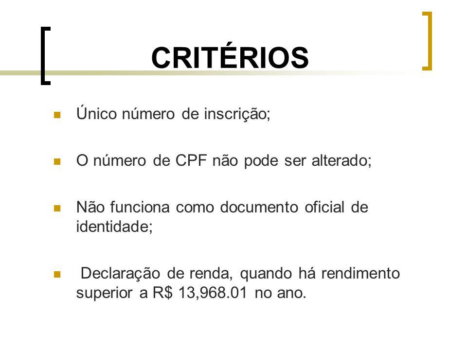 CRITÉRIOS Único número de inscrição; O número de CPF não pode ser alterado; Não funciona como documento oficial de identidade; Declaração de renda, qu