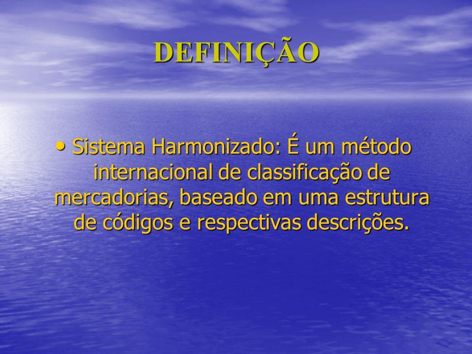 DEFINIÇÃO Sistema Harmonizado: É um método internacional de classificação de mercadorias, baseado em uma estrutura de códigos e respectivas descrições